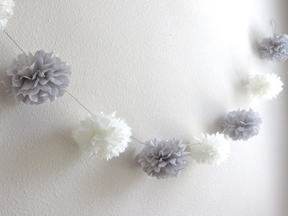 Custom Paper Pom-Pom Garland, Banner, Photo Prop - Your Choice of Colors