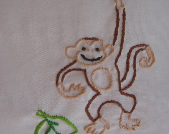 Made to Order-Hand Embroidered Swinging Monkey Tea Towel