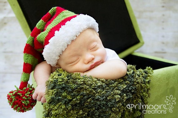 0-3 Month Knit Christmas Stocking Hat - Made to Order
