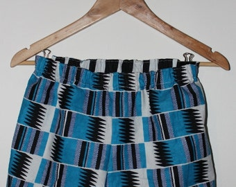 African Geometric Print Elastic Waist Party Shorts - Blue, White, Black. Size XS / UK8 / waist 26in
