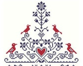 Tree of Life Cross Stitch Pattern - Birds and Heart in Flowering Tree ** Instant Download PDF