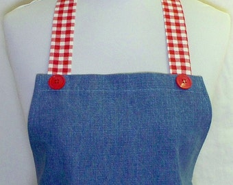 Apron BLUE DENIM with Red & White Checks, Patriotic AMERICANA, Fun Cute Hostess Kitchen Gift