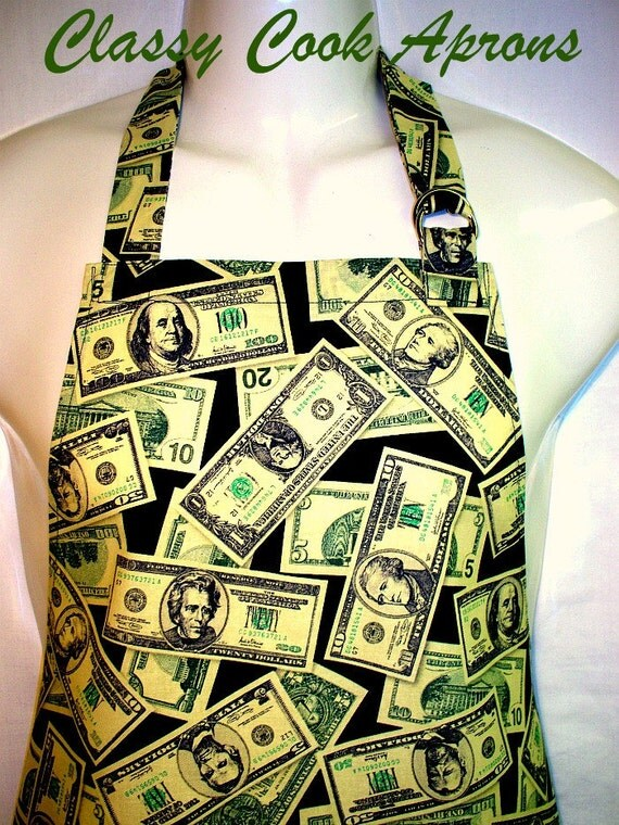 Apron Mans GREENBACKS, Mr. MONEY BAGS, It's All About The Benjamins, Grill Fun Kitchen Unique Gift
