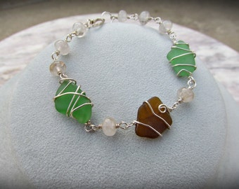 Wire Wrapped Sea Glass Bracelet in Sterling Silver. Artisan Linked Beach Glass Jewelry. Nautical Bracelet. Green, Brown Seaglass Jewelry