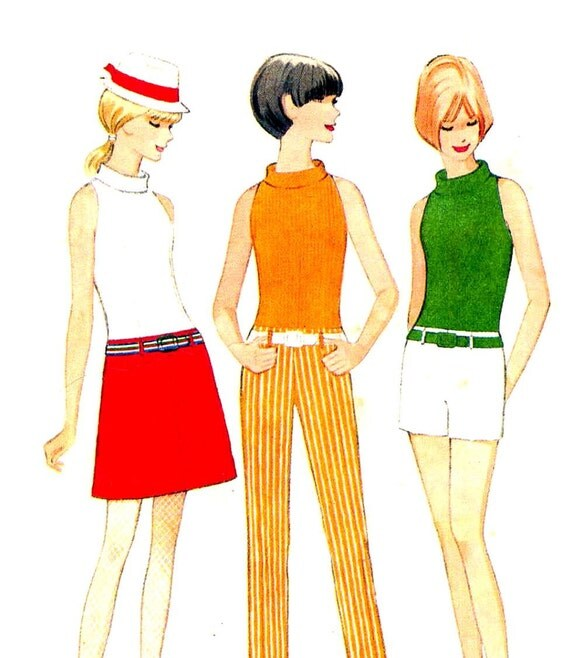 60s Mod Sewing Pattern Sleeveless Turtleneck, Hip Hugger Pencil Pants or Shorts and Skirt Vintage McCall's 8484--Teen Bust 34