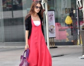 Romantic Watermelon Red Vest Bud Long Maxi Dress - NC015