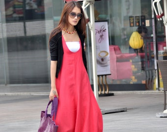 Romantic Watermelon Red Vest Bud Long Maxi Dress - NC015