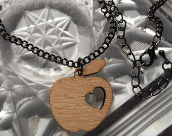 Apple necklace: plywood on a near black chain