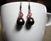 Earrings -- Raspberry Truffle -- glass pearls, Swarovski crystal -- brown, pink