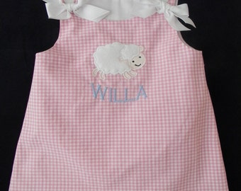 Girls Easter Dress Applique Lamb jumper