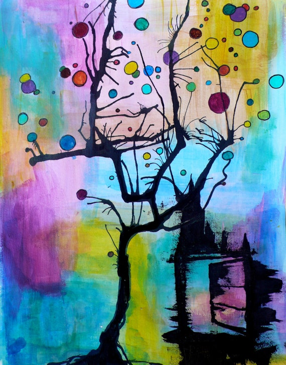 Colorful tree art print - 8x10 - The Tree Bubbles & the Black Cat