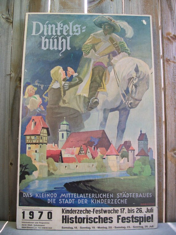 German heritage festival poster, Dinkelsbuhl Kinderzeche Festwoche, 1970, wood mounted. Folk art, decor.