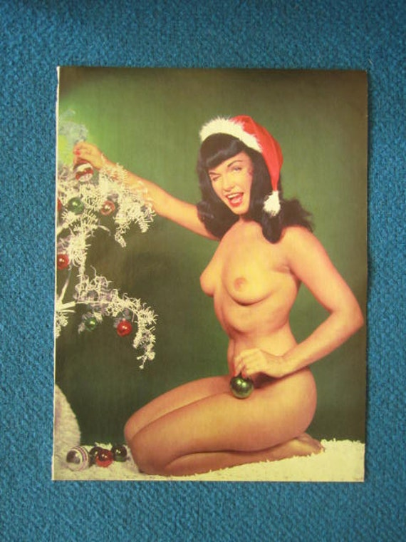 MATURE... Vintage Bettie Page... 1960's Playboy Magazine Christmas Illustration