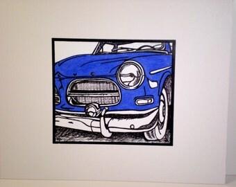 Classic Car Drawing / Royal Blue Volvo / Boys Room Decor / 8x10 Ready to Frame