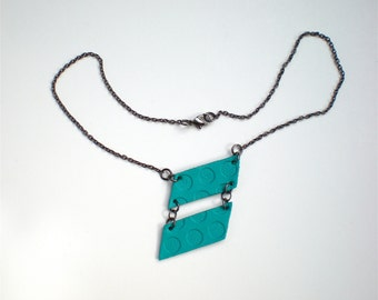 Aqua Geometric Necklace / Eco-friendly / Statement Jewelry