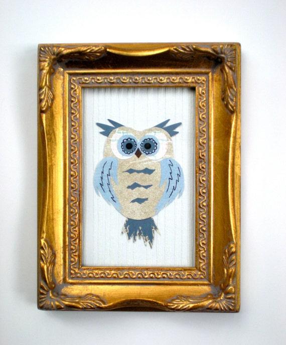 Framed Owl Art / Childrens Room / Vintage Wallpaper Collage / Wall Decor