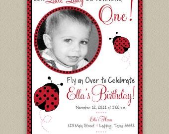 Cute Ladybug Printable Birthday Party Invitation