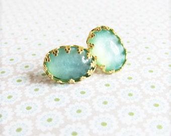 Aqua Earrings Studs Turquoise Studs Blue Mint Gold Post Earrings Vintage Wedding Victorian Post Earrings - Seafoam Green Aquamarine