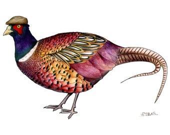 Pheasant in a Flat Cap: A4 Print
