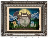 Totoro in the Garden on Vintage Upcycled Dictionary Art Print Book Art Print Recycled