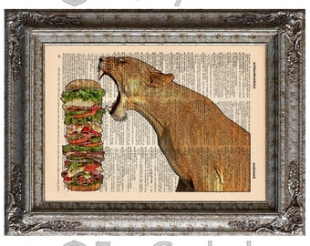 Lion with Dagwood on Vintage Upcycled Dictionary Art Print Book Art Print Big Cat I Can Has Cheeseburger book lover art upcycled book page