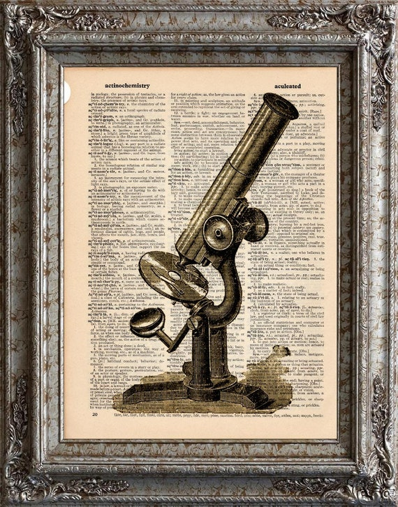 Microscope on Vintage Upcycled Dictionary Art Print Book Art Print Science Recycled Repurposed Antique