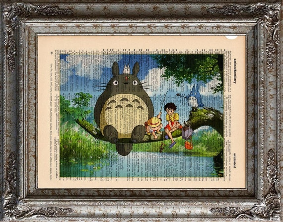 Totoro and Friends Fishing on Vintage Upcycled Dictionary Art Print Book Art Print Recycled Studio Ghibli book lover gift upcycled book page