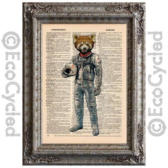 Red Panda Astronaut Space Cosmonaut on Vintage Upcycled Dictionary Art Print Book Art Print Recycled Astronomy book lover art astronomy