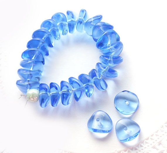 Light Sapphire Blue rondels, glass rondelle beads, Czech wavy spacers, 4x9mm - 25Pc - 0258
