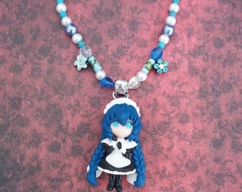 SALE - OOAK Chobits Yuzuki Blue Beaded Necklace with Beautiful Sparkly Flowers