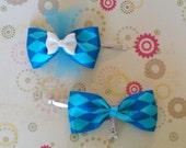 Matching Blue Parisian Hair Bows With Charms