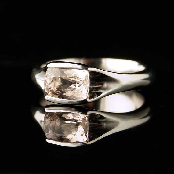 Morganite Palladium Solitaire Engagement Ring