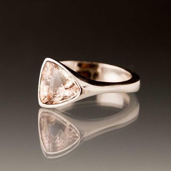 Trillion Morganite Palladium Engagement Ring