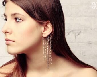 Set of 2 ear cuff  /summer boho earring wedding silver trends chain chains long modern impressive gift her fashion elegant unique design