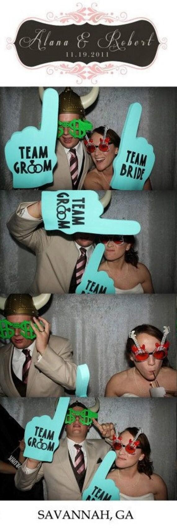 Photobooth Props | Black Team Bride & Team Groom Foam Fingers | Wedding | Bachelorette Party | Bachelor Party | Bridal Shower | Engagement