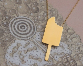 Gold Popsicle Necklace , Summer Necklace , Ice Pop , Ice Cream Charm , Food jewelry , Cute Jewellery , Popsicle Charm , Popsicle Jewelry