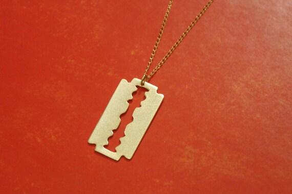 Razor Blade Gold Necklace , Razor Blade Charm , Gothic Jewelry , Razor Pendant , Layering Necklace , Blade Jewelry