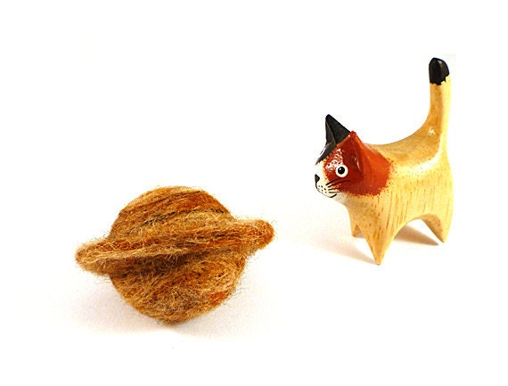 Planet Saturn Catnip Cat Toy - Needle Felted Wool
