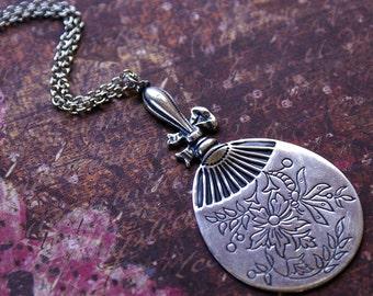 VICTORIAN FAN Necklace -Large Ornate Silver Fan Pendant- Vintage, Fun, Unique Necklace 'TIMELESS' by RevelleRoseJewelry