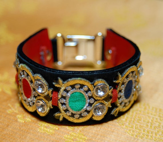 Large leather bracelet red and black crystals studs Edwardian leather bracelet cuff embroideries elegant classy women gift ONE OF A KIND