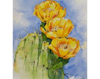 Cactus Flower Living Gold original watercolor painting