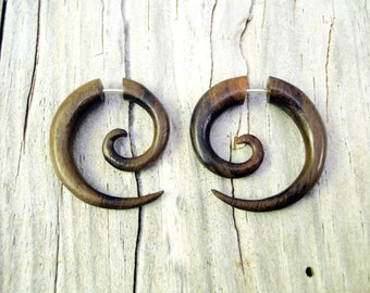 Fake Gauge Earrings Wooden Spiral Tribal Earrings - Gauges Plugs Bone Horn - FG009 W G1