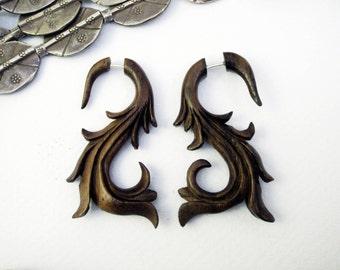 Fake Gauges Organic Wooden Earrings Swan Flower Natural Tribal Earrings Organic FG006 W G1 G2