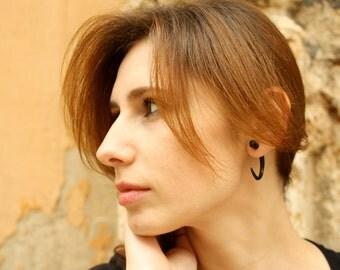 Fake Gauge Earrings Black Horn Hook Talon Tribal Earrings - Gauges Plugs Bone Horn - FG008 H G2