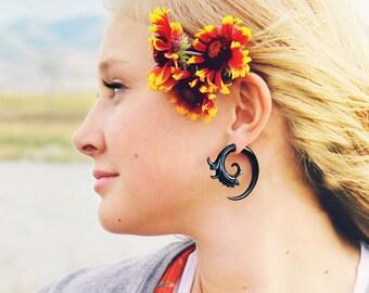 Fake Gauges Spiral Earrings Black Horn Flower Organic Natural Tribal Earrings Organic - FG040 H G1