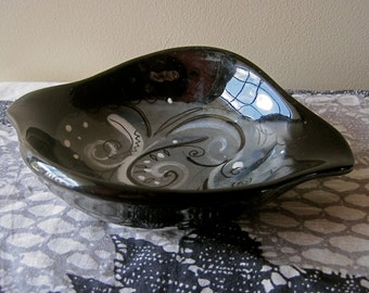 Sascha Brastoff Ashtray Atomic Amoeba CANDY DISH Signed Mid Century Modern 50s Modernist Abstract Black Ceramic Collectible