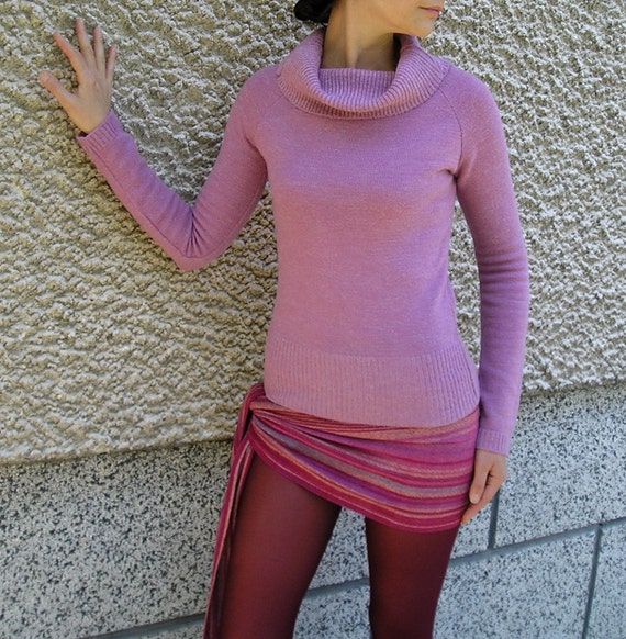 Vintage Dusty Pink Draped Cowl Neck Warm Acrylic Sweater Blouse size S-M
