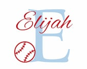 "Baseball Wall Decal Initial and Name Vinyl Wall Decal Sports Decal for Boy Baby Nursery or Boys Room 22""H x 29""W Wall Art FS0198"