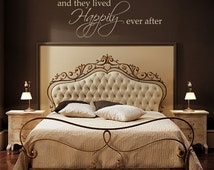 """Vinyl Wall Decals, Happily Every After, Bedroom Decals, Master Bedroom, Custom Wall Decals, And They Lived Happy Ever After, 15""""H x 42""""W"""