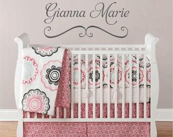Vinyl Wall Decals, Nursery Name Decals,  Baby Nursery Decals, Girl Name Decal, Custom Wall Decal, Name Decals for Nursery, Wall Decal, WA076